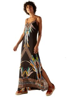 Long black feather pattern beach dress - MOANA YAPI