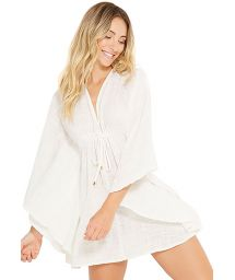 Ecru beach dress with bat sleeves - NEW EQUILIBRIO
