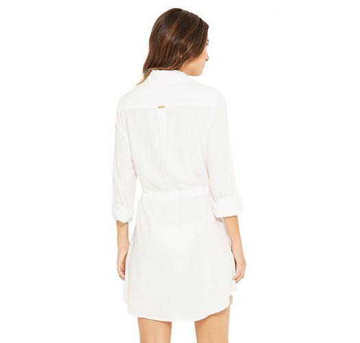 Ecru shirt beach dress with sleeves - NEW SALIMA