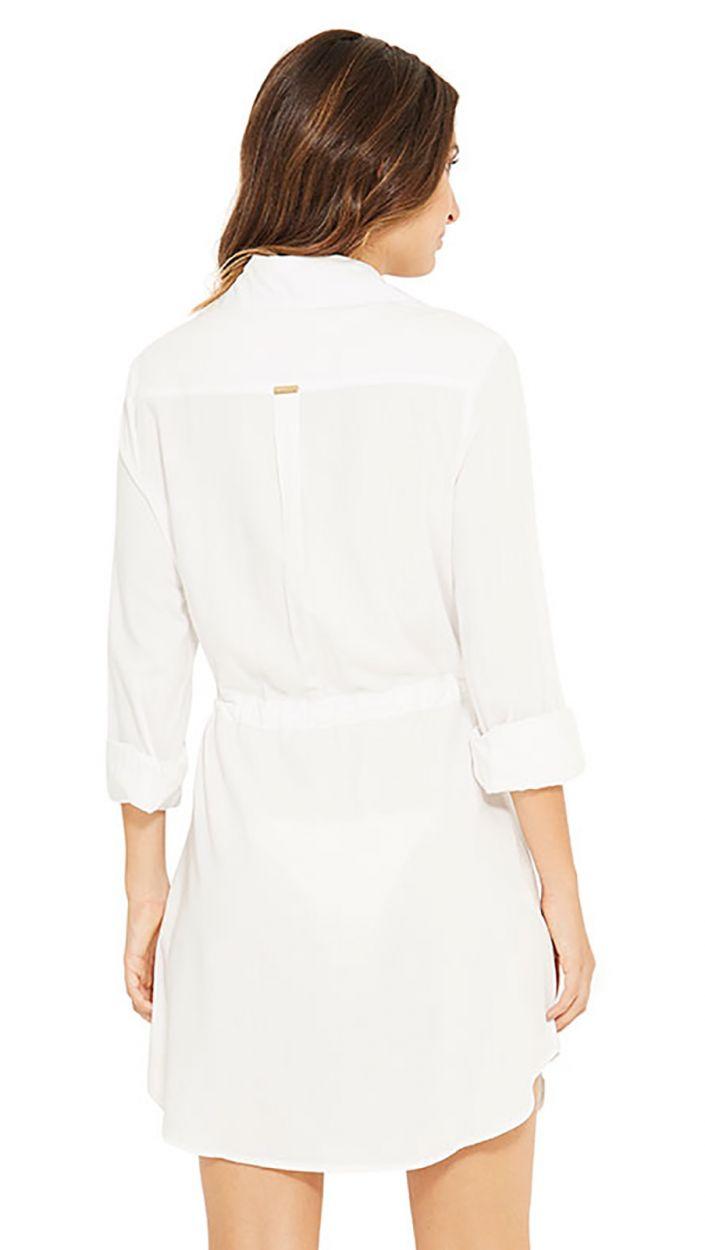 Пляжное платье-рубашка цвета экрю с рукавами - NEW SALIMA