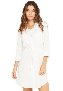 Ecru shirt beach dress with sleeves - NEW SALIMA