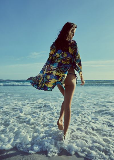 Beach kimono with tropical sunset print - OKINAWA ENTARDECER