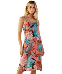 Long pink tropical beach dress with straps - ROBERTA PALMAR