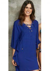 Navy blue beach dress with lace-up neckline - SAIDA ITALIA LISA