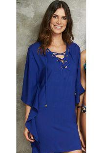 שמלה לחוף הים צבע כחול כהה עם מחשוף ושרוכים - SAIDA ITALIA LISA