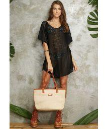 Black loose-fitting beach dress with openwork pattern - SAIDA OMBRO RENDA BLACK