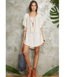 Loose-fitting ecru beach dress with openwork motif - SAIDA OMBRO RENDA WHITE