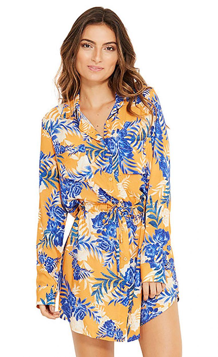 Blå och orange strandskjorta - SALIMA SOLAR