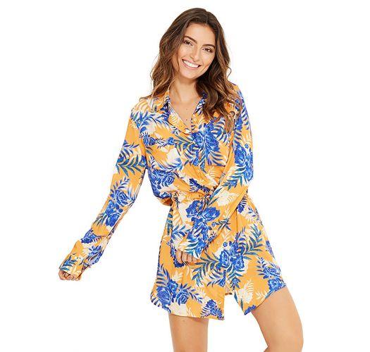 Blå og oransj skjorte lignende strand kjole - SALIMA SOLAR