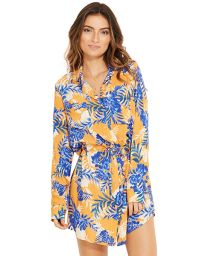 Blue and orange shirt beach dress - SALIMA SOLAR