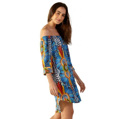 Colorful tropical beach dress with bare shoulders - SUNNY COCARDE