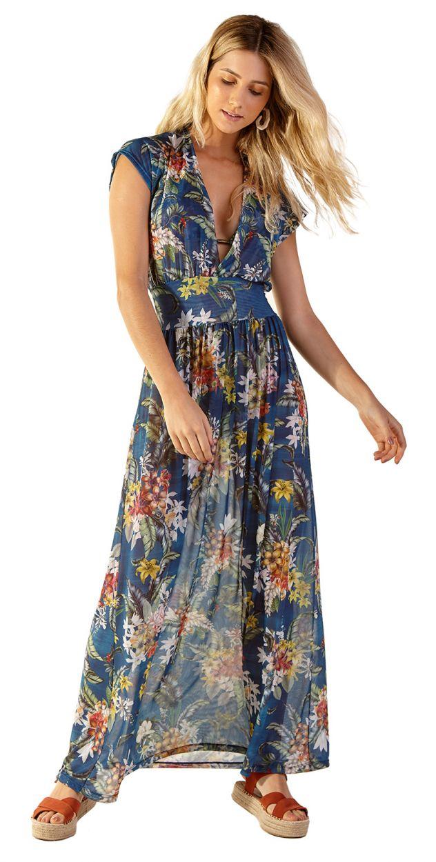 Long beach dress in blue floral print - TULE ARTA