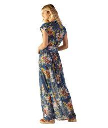 Longue robe de plage en voile bleu fleuri - TULE ARTA