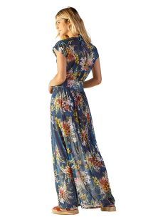 Long beach dress in blue floral print - TULE ARTA