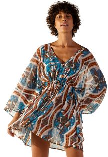 Blue and brown printed beach kaftan - TULE CHADE