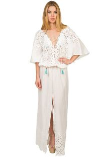 Maxi beach dress with split and lacing - ELEGANCIA LOANG