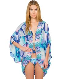 Ethnic-style silk beach kimono with tassels - ETNICO COLOR