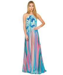 Long silk beach dress with open back - ETNICO COLOR LONGA