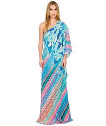 Long silk beach dress, one shoulder - ETNICO TROPICAL