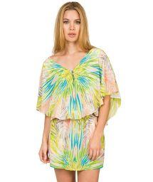 Kaftan-style silk mini-dress, tropical pattern - FOLHAGEM COLOR