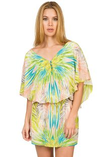 Kaftan-style silk mini-dress, tropical pattern - FOLHAGEM COLOR