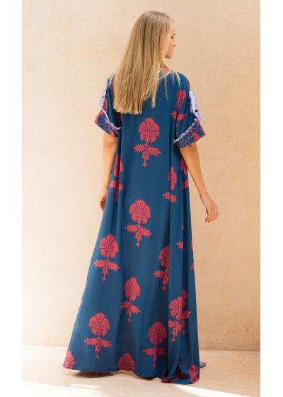 Luxury ethnic kaftan,blue with red motifs - MENARA
