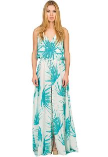 Lang silkekjole med tropisk mønster og slids - PALMA LONGA