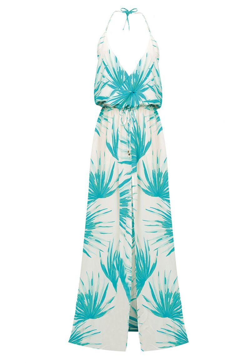 Long silk dress, tropical pattern, split - PALMA LONGA