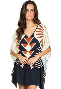 Navy and beige beach cover-up in ethnic print - KAFTAN INCA MARINHO