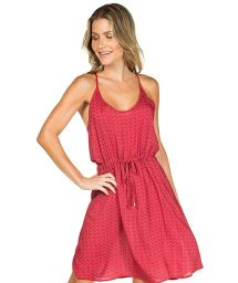 Dark pink beach dress with pink motives in two shades - VESTIDO FLORIDA VERMELHO
