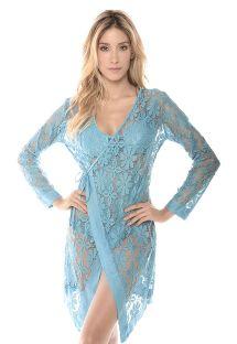 שמלת חוף בגזרת מעטפת מבד תחרה כחול בהיר - AMALFI MALAYSIA