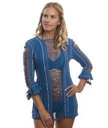 Blue mini dress beach cover-up openwork and strap detailing - ANGEL HAIR TUNIC