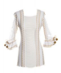 White/beige beach tunic with strapwork detailing - ANGEL HAIR WHITE