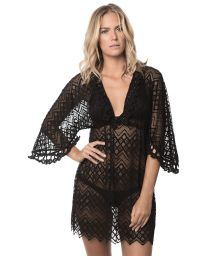 Black lace beach dress, macramé shells - BLACK MIRAMARE