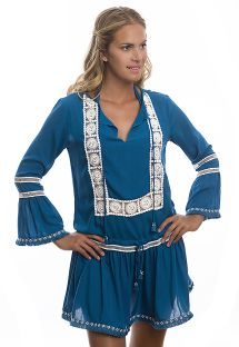 Blue/white embroidered bohemian beach cover-up - BOHEME TUNIC