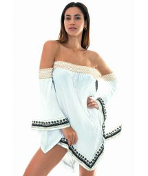 White embroidered oriental-style beach cover-up - CALICUTE WHITE