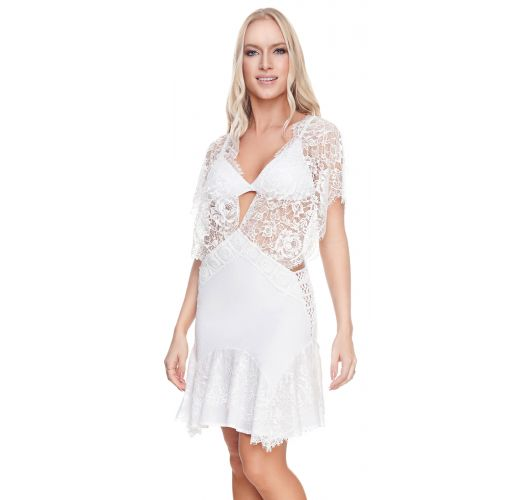 Luxurious white beach dress with lace - CHANTILLY DRESS WHITE