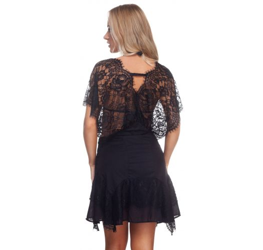 Luxurious black beach dress with lace - CHANTILLY TUNIC BLACK