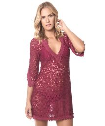 Wine-colored beach dress, 3/4 sleeves - CHERRY INDONESIA