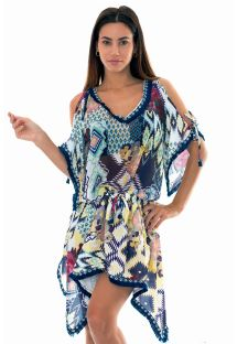 Fluid printed beach cover-up with fringed edging - CHEYENNE TUNIC