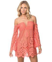 Orange lace beach dress, see through - CORAL IBIZA