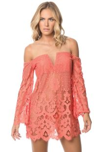 Orange lace beach dress, see through - CORAL IBIZA