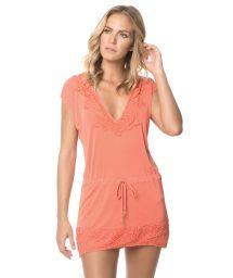 Orange beach dress, lace details - CORAL JAVA