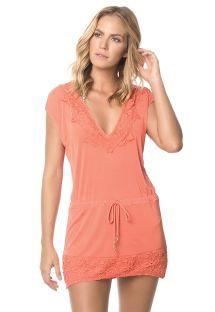 Pomarańczowa sukienka plażowa, element z koronki - CORAL JAVA