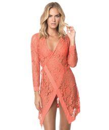 Orange lace beach wrap dress - CORAL MALAYSIA