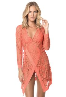 Orange lace beach wrap dress - CORAL MALAYSIA