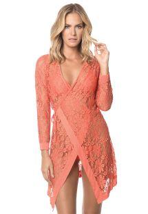 Pomarańczowa sukienka plażowa z koronki, wiązana z boku - CORAL MALAYSIA