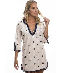 White beach dress embroidered with colourful flowers - DAISY GAME