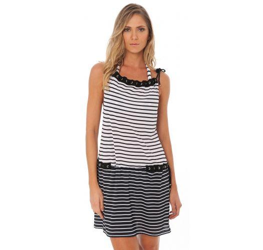 שמלה לחוף הים עם פסים שחור/לבן עם עיניות מעוטרות באבני שטראס - EYELET TUNIC  BLACK GEOMETRIC