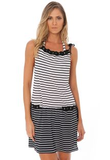 Black and white beach dress with rhinestone eyelets - EYELET TUNIC  BLACK GEOMETRIC